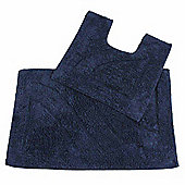 Homescapes Luxury Two Piece Bath Mat Set Royal Blue
