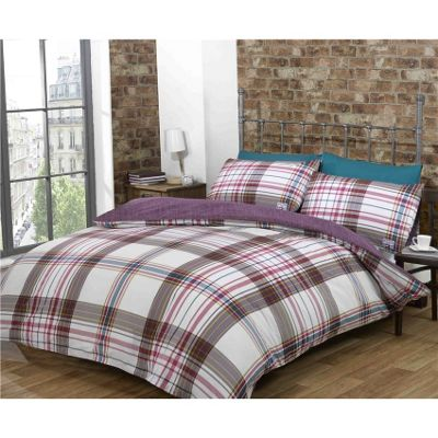 Rapport Harper Check Mulberry Duvet Cover Set - King