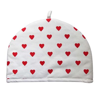 Homescapes Tea Cosy Double Design Red Hearts Teapot Warmer