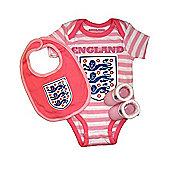 England Football Baby Gift Set, Bodysuit, Booties & Bib - Pink Stripe - Pink
