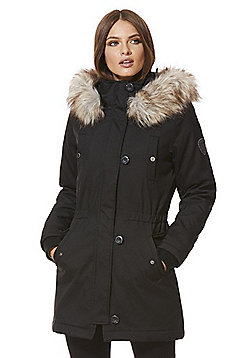 Only Faux Fur Trim Parka - Black