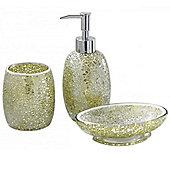 Sparkle - Mosaic Bathroom Set / Soap Dish / Dispenser / Beaker - Green