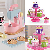KidKraft Baking Set and Cupcake Stand With Cupcakes