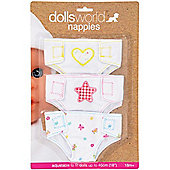 Dolls World Fabric Nappies 3 pack