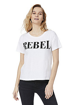 Noisy May Rebel Slogan T-Shirt - White
