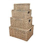 Set of 4 Seagrass Rectangular Baskets