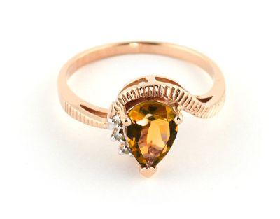 QP Jewellers Diamond & Citrine Belle Diamond Ring in 14K Rose Gold - Size U