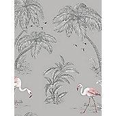 Holden Flamingo Lake Wallpaper - Grey 12381