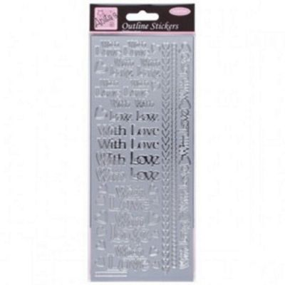 Outline Stickers With Love Silver