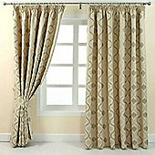 """Homescapes Cream Jacquard Curtain Modern Wave Pattern Fully Lined - 90"""" X 90"""" Drop"""