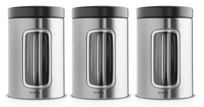 Brabantia Fingerprint Proof 1.4L Matt Steel Set of 3 Window Canisters