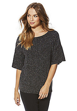 F&F Glitter Bell Sleeve Top - Black