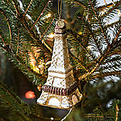 Gold Glass Eiffel Tower Christmas Tree Decoration