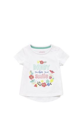F&F Daddy Makes Me Smile T-Shirt White Multi 12-18 months