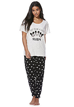 Disney Mickey Mouse Slogan Pyjamas - Grey & Black