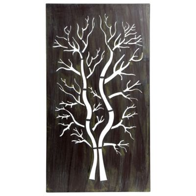 Large 70cm Metal Rectangle Tree Silhouette Wall Art Sculpture