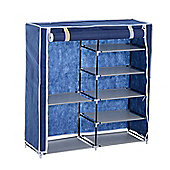 Homcom 5 Tier/ 2 Tier Shoe Rack Stand Double Canvas Cabinet Storage Organiser Standing Shelf w/ Cover (Blue)