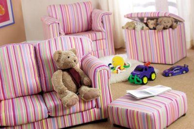Just 4 Kidz Kids 60cm Loose Cover Sofa - Sky Stripe