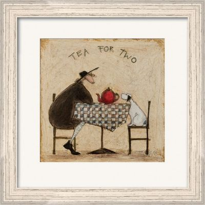 Sam Toft Tea for Two Pale Wood Finish Framed Print 40 x 40cm