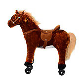 Homcom Kids Plush Ride On Walking Horse Toy with Wheels w/Neigh Sound (Brown)