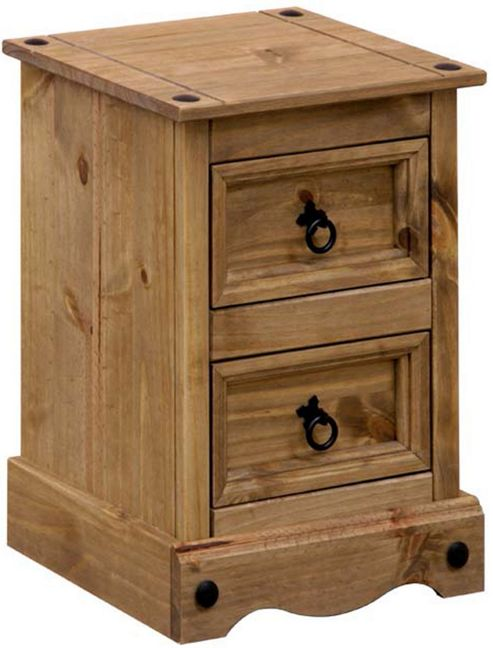 Home Essence Corona 2 Drawer Petite Bedside Cabinet in Solid Pine