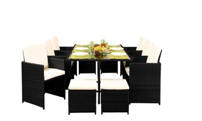 Comfy Living 10 Seater Rattan Outdoor Garden Furniture Set In Black - 6 Chairs 4 Stools & Dining Table