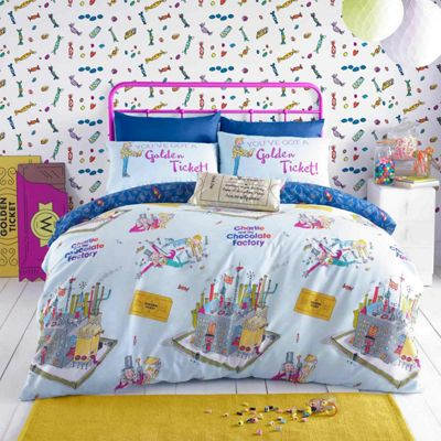 Roald Dahl 'Willy Wonka' Blue Reversible Quilt Cover Set, Double