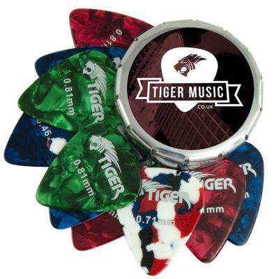 Tiger 12 Celluloid Guitar Picks & Pick Tin - Variety of Gauges