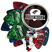Tiger Guitar Plectrums with Pick Tin - 12 Medium Guitar Picks