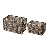 Parlane Set of Two Brown Wicker Baskets - 42cm x 25cm & 36cm x 22cm