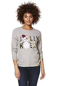 F&F Sequinned Jolly Holly Slogan Christmas Jumper - Light grey