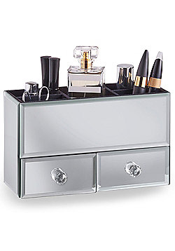 Beautify Small Mirrored Glass Jewellery Box & Makeup Organiser