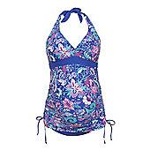 F&F Tropical Print Halterneck Maternity Tankini Swimsuit - Blue