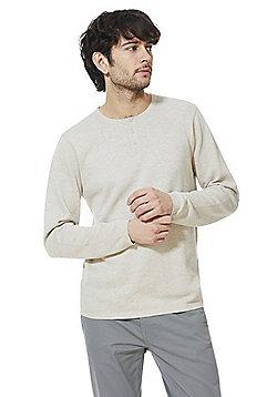F&F Grandad Collar Jumper - Stone
