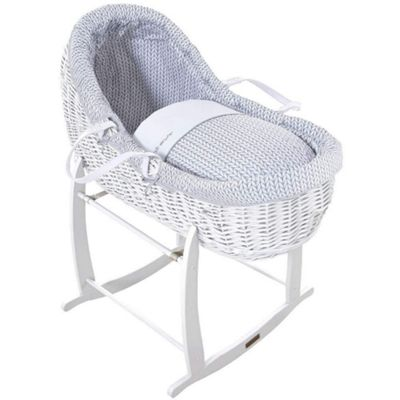 Clair de Lune White Willow Bassinet (Barley Bebe Grey)