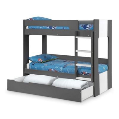 Happy Beds Ellie Wood Kids Bunk Bed and Underbed Storage Drawer with 2 Open Coil Spring Mattresses - Grey - 3ft Single