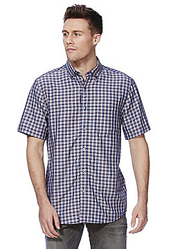 F&F Checked Soft Touch Short Sleeve Shirt - Purple