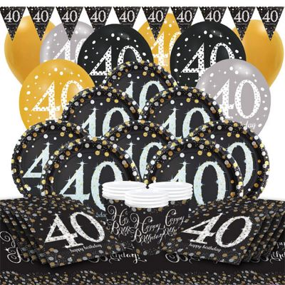 Sparkling Celebration 40th Birthday Party Pack - Deluxe Party for 16