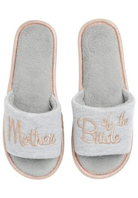 F&F Mother Of The Bride Slider Slippers Grey Adult 7-8