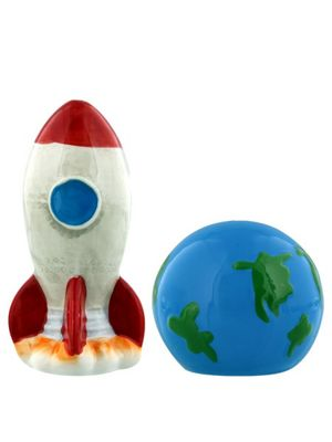 Rocket and Planet Earth Salt and Pepper Condiment Set