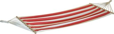 Harbour Housewares Large Cotton Garden / Camping Hammock - Red / White Stripe