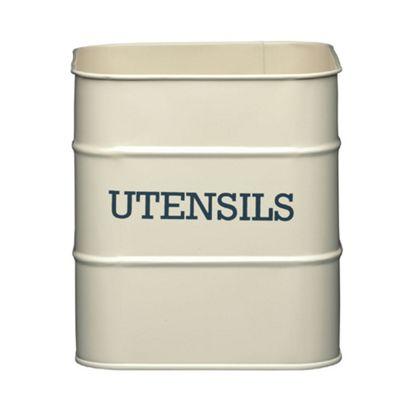 Living Nostalgia Vintage Utensil Storage Pot, Cream