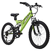 "Terrain 20"" Wheel Full Suspension Green Kids Mountain Bike"