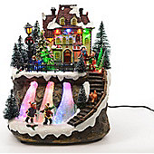 Light Up LED Christmas Village With Skiing Pond