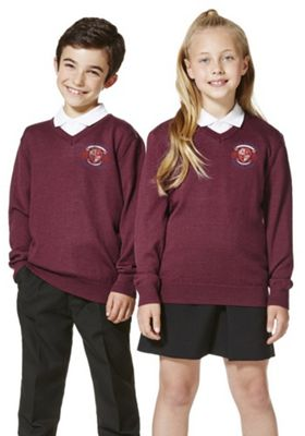 Unisex Embroidered V-Neck School Jumper with Wool 5-6 years Burgundy