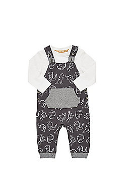 F&F Dinosaur Print Jersey Dungarees and Bodysuit Set - Grey