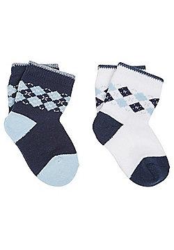 F&F 2 Pair Pack of Argyle Ankle Socks - Blue