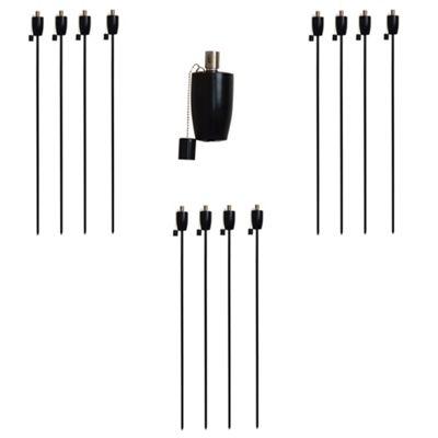 Garden Fire Torch - Oil / Paraffin Black Lantern - 1460mm Barrel Design - Pack Of 12