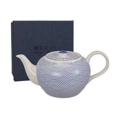 Tokyo Design Studio Nippon Blue Porcleain Teapot 'Waves' Japanese Design 8275