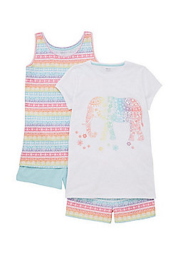 F&F 2 Pack of Aztec Elephant Pyjamas - Multi